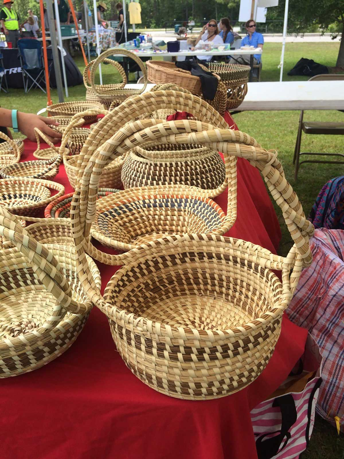 Traditional sweetgrass basket