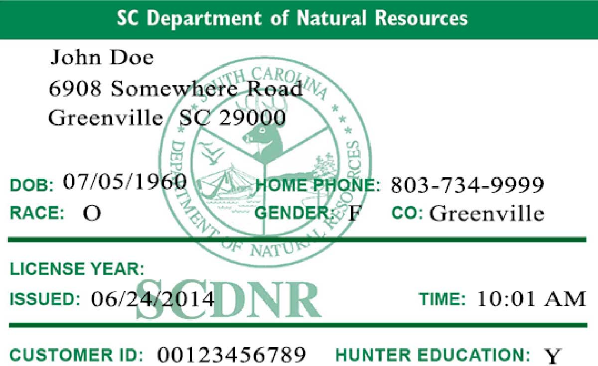 SC recreational fishing license