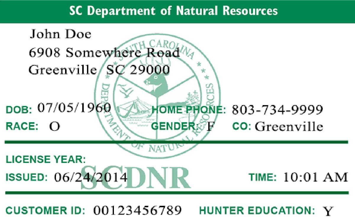 SC recreational fishing license.